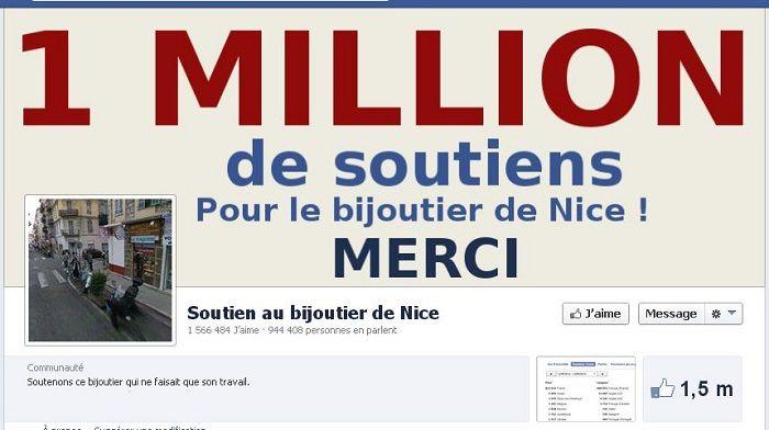 Réseaux Sociaux: Déjà 1 millions de fans en soutient au bijoutier de nice…