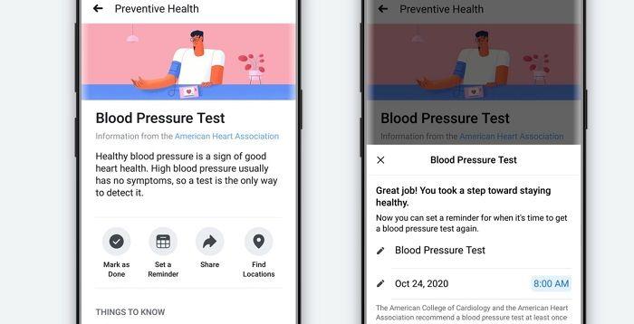 Facebook dévoile son outil d'incitation au check-up Preventive Health